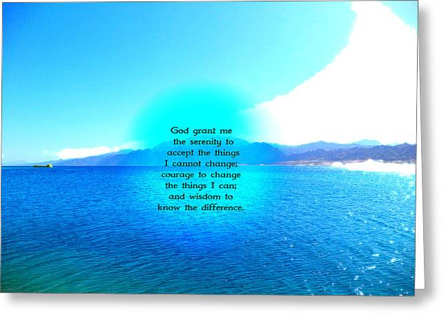 Serenity Prayer With Blue Ocean And Amazing Sky Greeting Card by Valentino Wolf