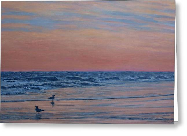 Greeting Card featuring the painting Serenity - Study For Dusk At The Shore by Kathleen McDermott