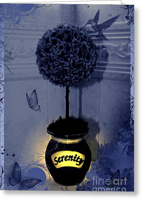 Serenity Topiary Glow Greeting Card by Margaret Newcomb