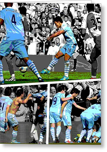 Sergio Aguero Goal Vs Qpr Greeting Card