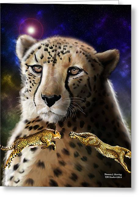 Greeting Card featuring the digital art First In The Big Cat Series - Cheetah by Thomas J Herring