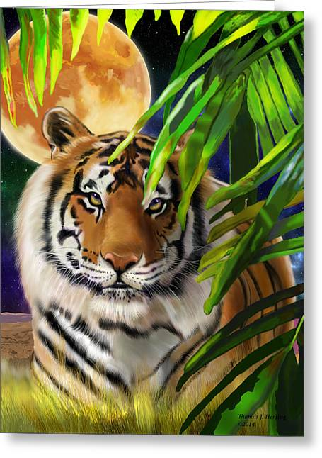 Greeting Card featuring the painting Second In The Big Cat Series - Tiger by Thomas J Herring