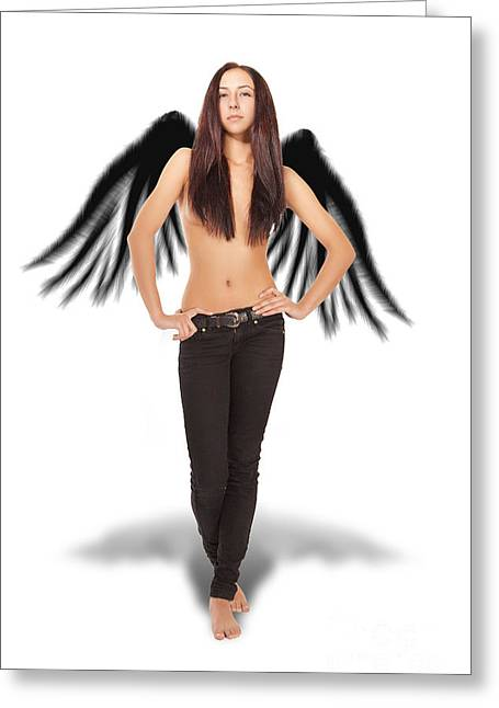 Serious Girl Bared With Wings Greeting Card by Aleksey Tugolukov