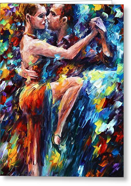 Serious Tango Greeting Card by Leonid Afremov