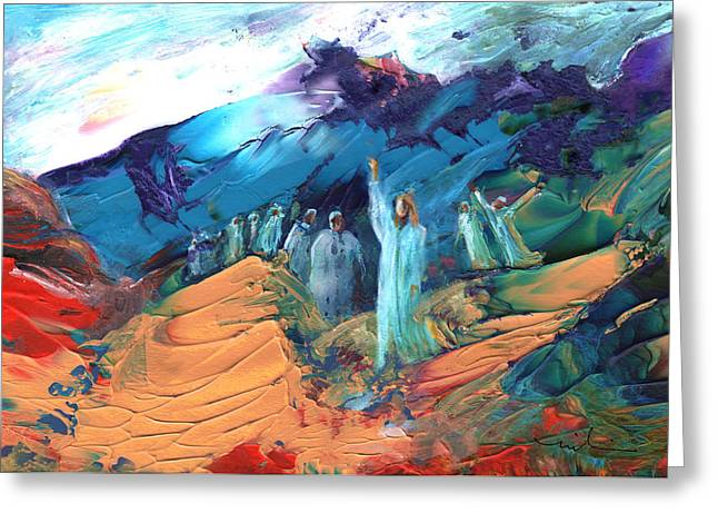 Sermon On The Mount Sinai Greeting Card by Miki De Goodaboom