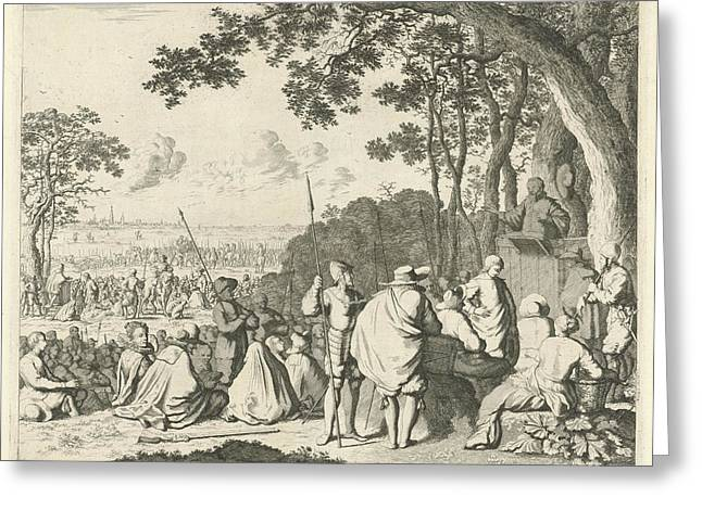 Sermons Outside Antwerp, 1566, Belgium, Jan Luyken Greeting Card