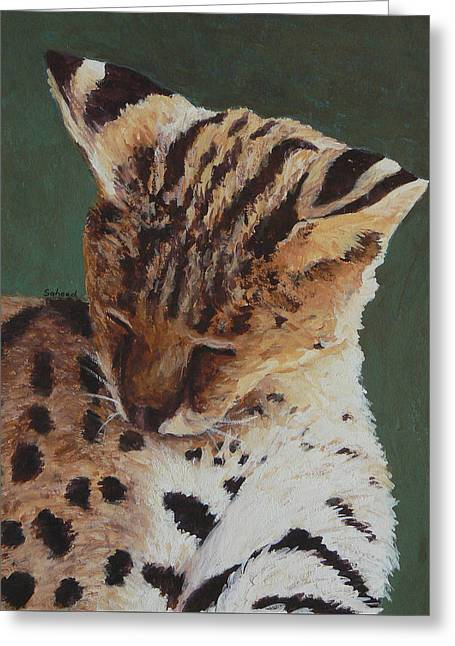 Serval Nap Greeting Card