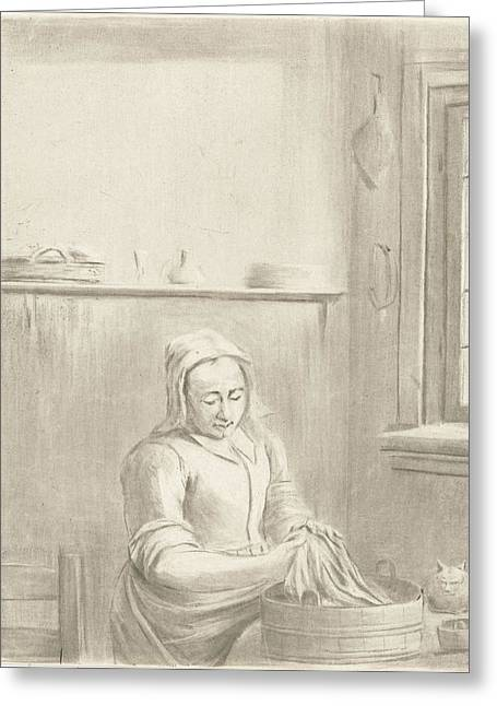Servant With Tub, Jurriaan Cootwijck Greeting Card by Jurriaan Cootwijck
