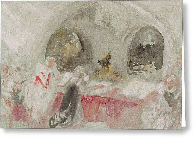 Service In The Chapel At Petworth Greeting Card by Joseph Mallord William Turner