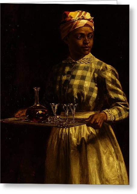 Serving Maid Greeting Card by Thomas Waterman Wood