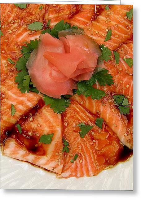 Sesame Salmon Sashimi Greeting Card by James Temple