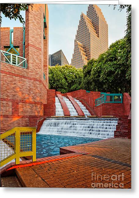 Sesquicentennial Fountains At Wortham Center - Downtown Houston Texas Greeting Card by Silvio Ligutti