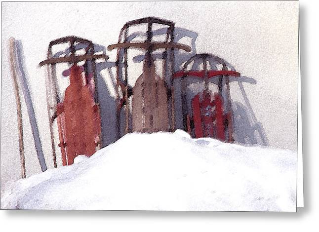 Set Aside Sleds Greeting Card by Susan Crossman Buscho