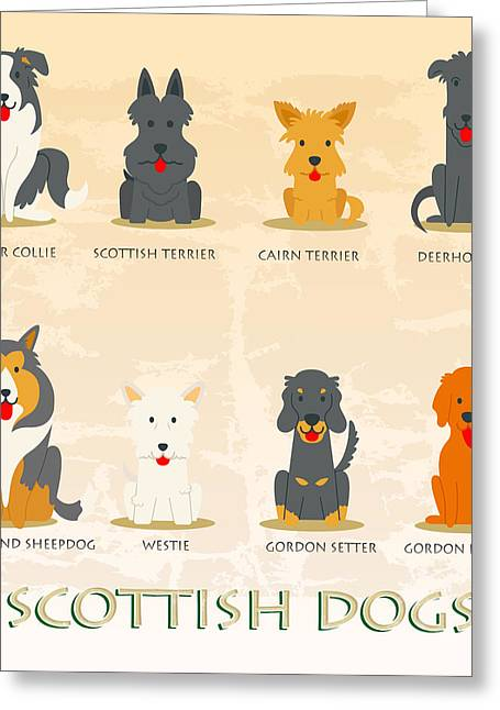 Set Of Scottish Dogs  Greeting Card by Don Kuing