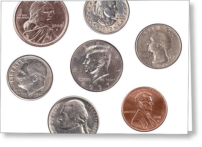 Set Of U.s. Coins Greeting Card by Joe Belanger