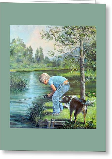 Greeting Card featuring the painting Seth And Spiky Fishing by Donna Tucker