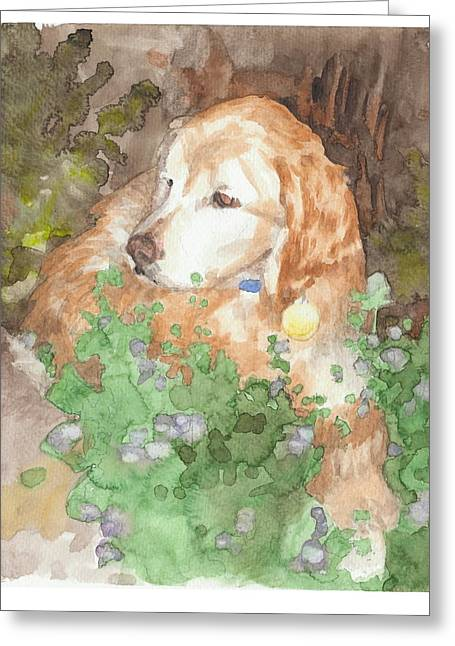 Setter Dog In Flowers Watercolor Portrait Greeting Card by Mike Theuer