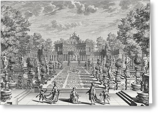 Setting For An Opera In A Garden Greeting Card by Giuseppe Bibiena