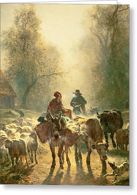 Setting Off For Market Greeting Card by Constant-Emile Troyon