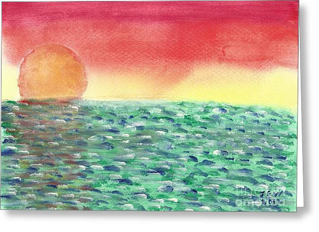 Greeting Card featuring the painting Setting Sea by John Williams