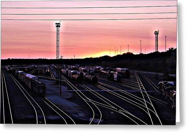 Setting Sun Shining Rails Greeting Card by Elizabeth Sullivan