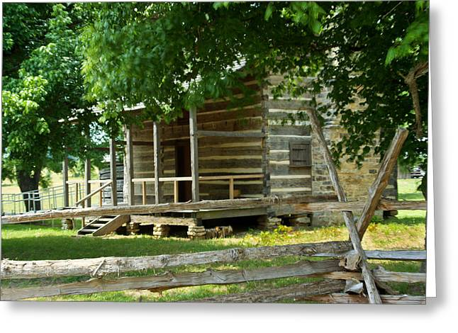 Settlers Cabin And Crosstie Fence 5 Greeting Card