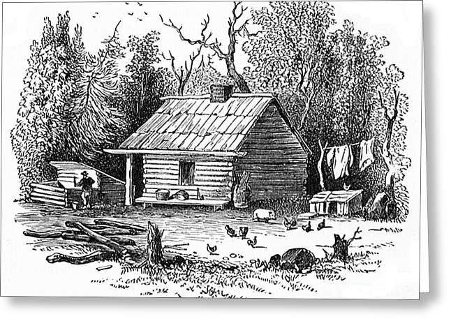 Settler's Log Cabin - 1878 Greeting Card