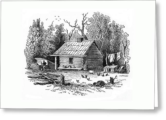 Settler's Log Cabin - 1878 Greeting Card