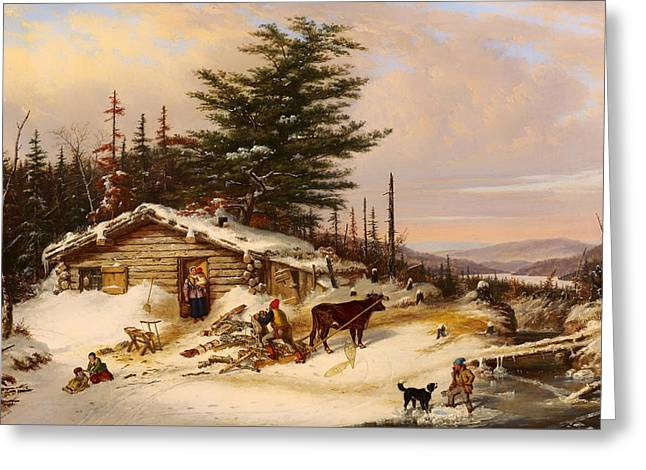 Settler's Log House Greeting Card by Mountain Dreams