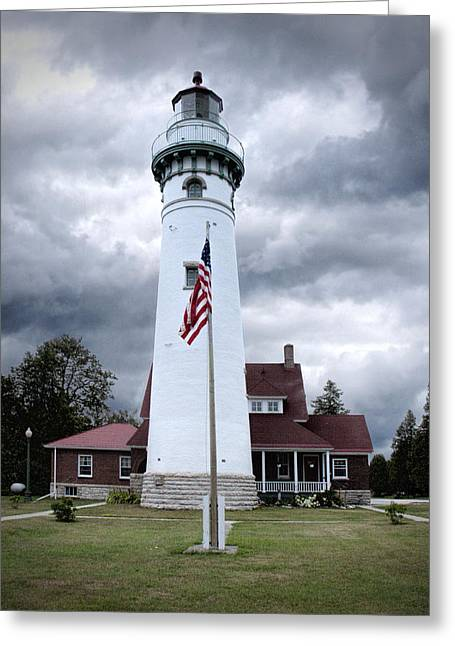 Seul Choix Point Lighthouse In The Michigan Upper Peninsula No. 1327  Greeting Card by Randall Nyhof
