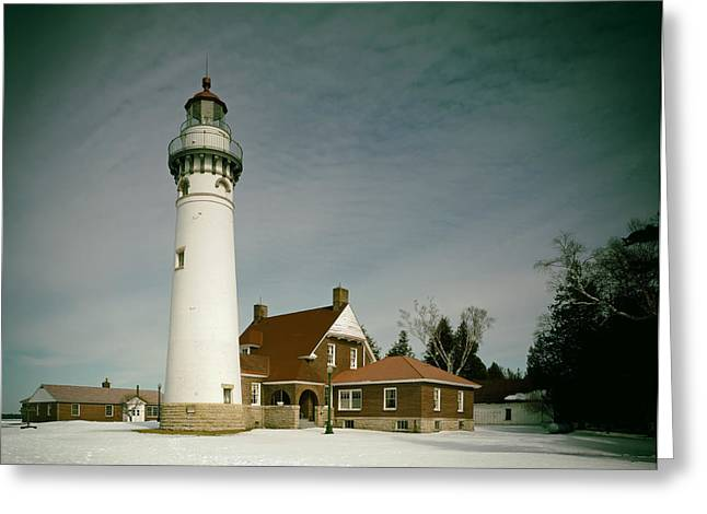 Seul Choix Point Lighthouse In Winter Greeting Card by Mountain Dreams