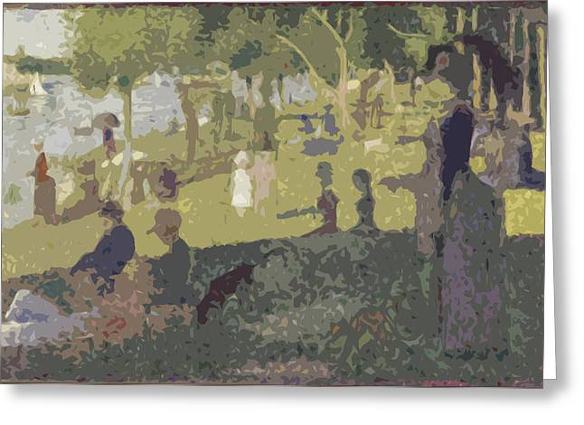 Seurat Sunday Afternoon At The Park Greeting Card