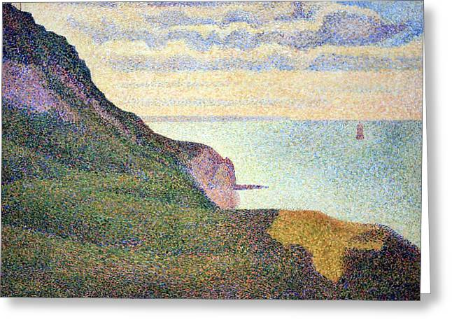 Seurat's Seascape At Port Bessin In Normandy Greeting Card by Cora Wandel