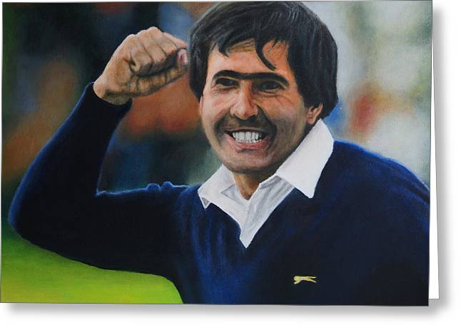 Seve Ballesteros Oil On Canvas Greeting Card