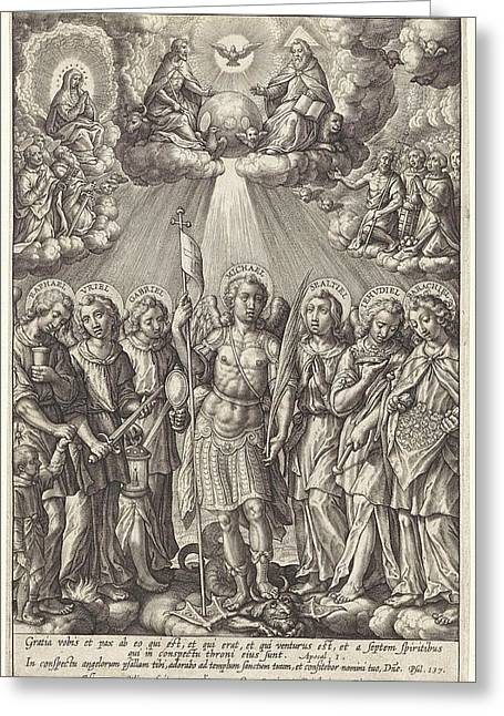 Seven Archangels, Hieronymus Wierix Greeting Card by Hieronymus Wierix