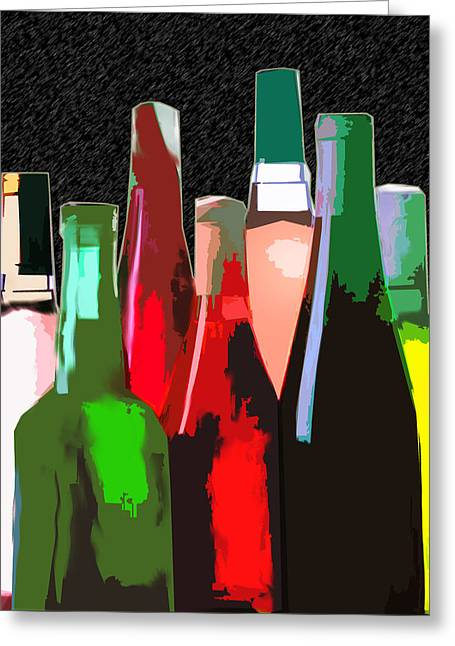 Seven Bottles Of Wine On The Wall Greeting Card
