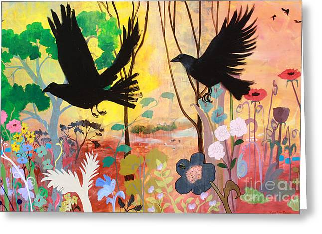 Seven Circling Crows Greeting Card by Robin Maria Pedrero