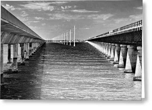 seven mile bridge BW Greeting Card