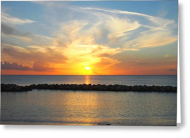 Greeting Card featuring the photograph Seven Mile Sunset Over Grand Cayman by Amy McDaniel