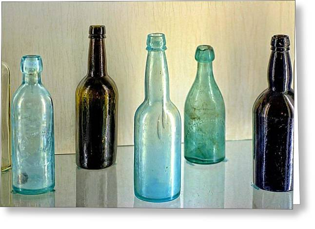 Seven Old Bottles Greeting Card by Ludwig Keck