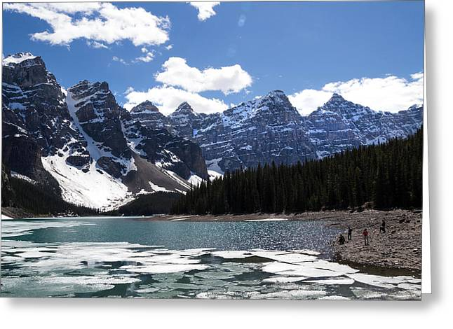 Seven Sisters At Moraine Lake Greeting Card by Angela Boyko