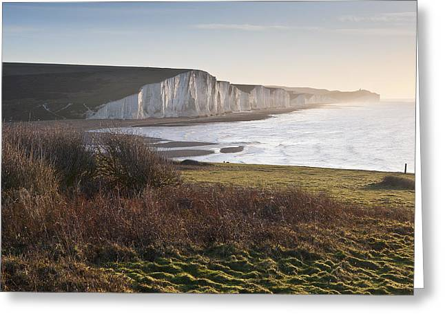 Seven Sisters Sunrise Viewed From Seaford Head Greeting Card by Matthew Gibson