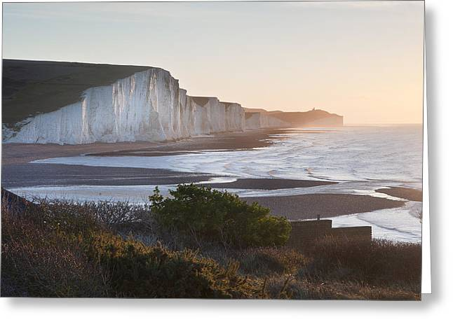 Seven Sisters Sunrsie Viewed From Seaford Head Greeting Card by Matthew Gibson