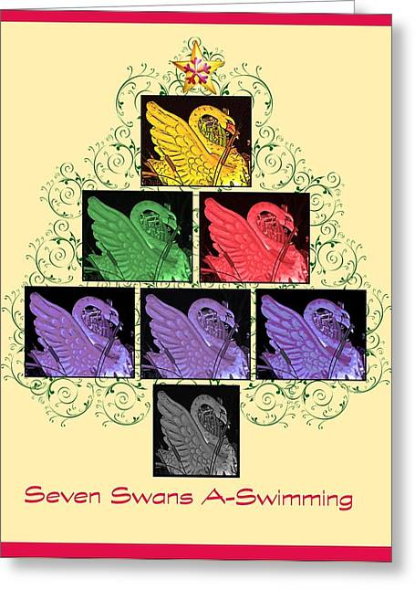 Seven Swans A-swimming Greeting Card