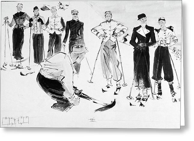 Seven Women Wearing Ski Outfits Greeting Card by Ren? Bou?t-Willaumez