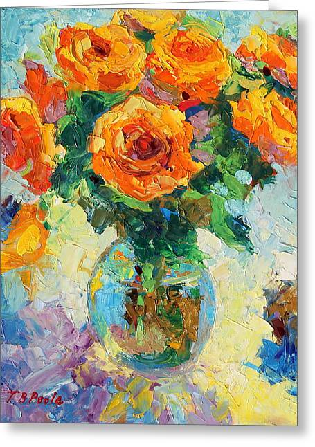 Seven Yellow Roses In Glass Vase Oil Painting Greeting Card