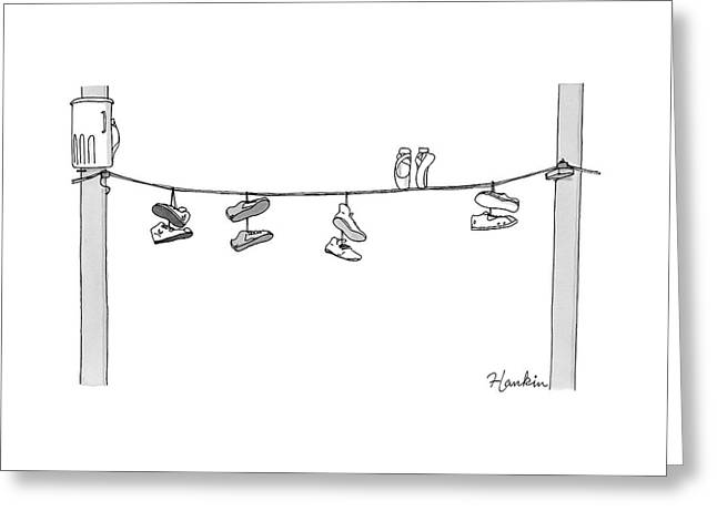 Several Pairs Of Shoes Dangle Over An Electrical Greeting Card