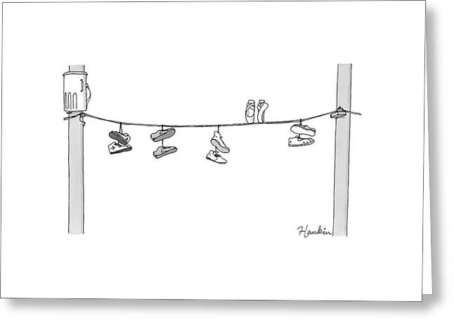 Several Pairs Of Shoes Dangle Over An Electrical Greeting Card by Charlie Hankin