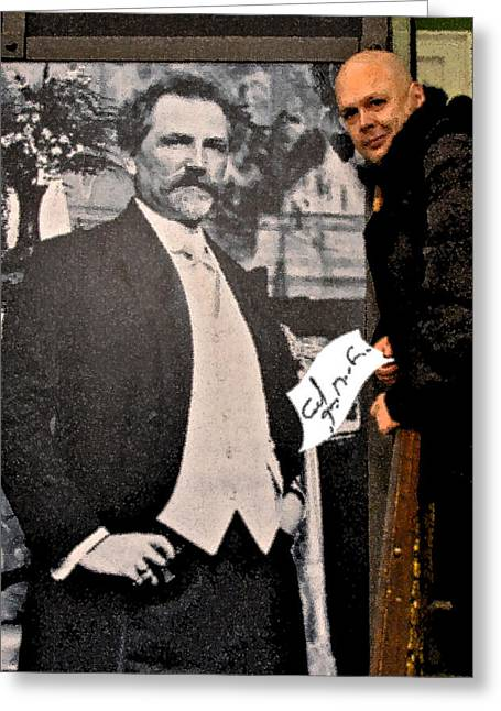 Severe Ordeals. Selfie With Alfons Mucha. Greeting Card