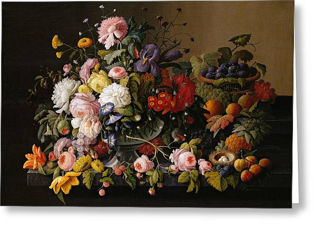 Severin Roesen Still Life Flowers And Fruit 1850 Greeting Card